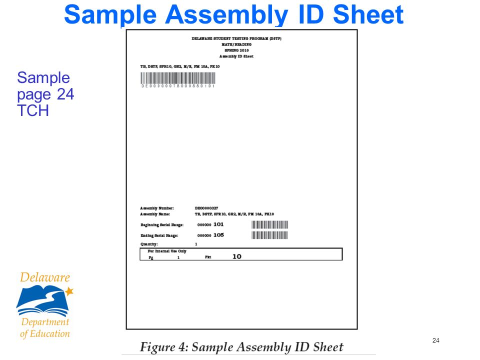 24 Sample Assembly ID Sheet Sample page 24 TCH