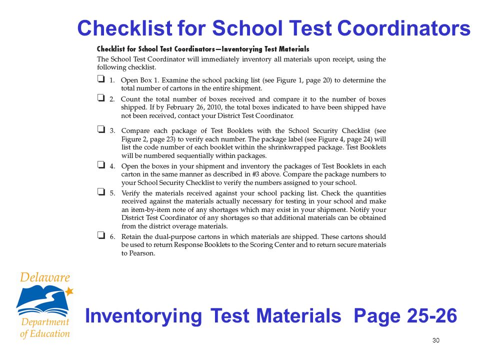 30 Checklist for School Test Coordinators Inventorying Test Materials Page 25-26