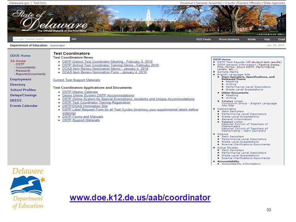 33 www.doe.k12.de.us/aab/coordinator