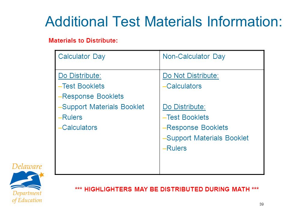 39 Additional Test Materials Information: *** HIGHLIGHTERS MAY BE DISTRIBUTED DURING MATH *** Calculator DayNon-Calculator Day Do Distribute: –Test Booklets –Response Booklets –Support Materials Booklet –Rulers –Calculators Do Not Distribute: –Calculators Do Distribute: –Test Booklets –Response Booklets –Support Materials Booklet –Rulers Materials to Distribute: