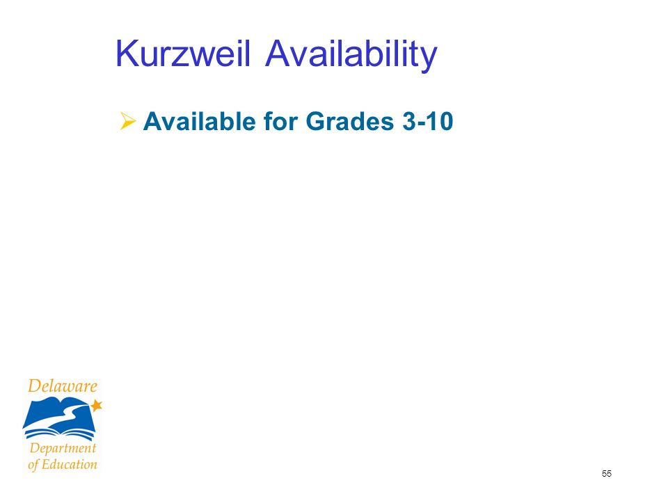 55 Kurzweil Availability Available for Grades 3-10