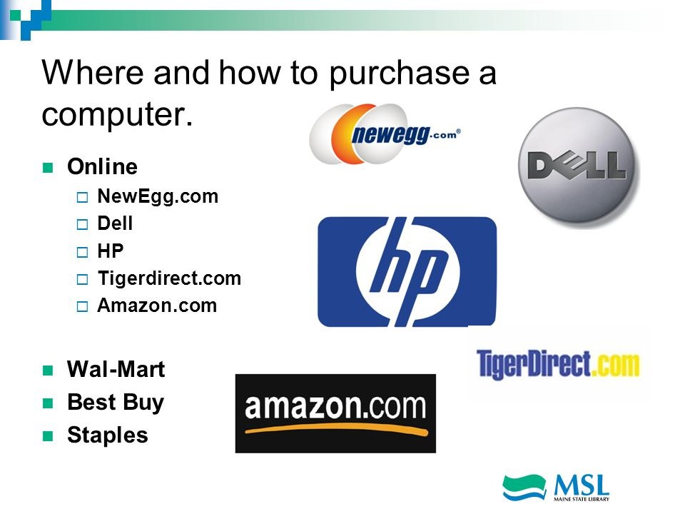 Where and how to purchase a computer.