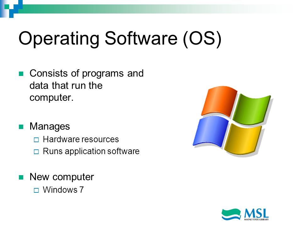 Operating Software (OS) Consists of programs and data that run the computer.