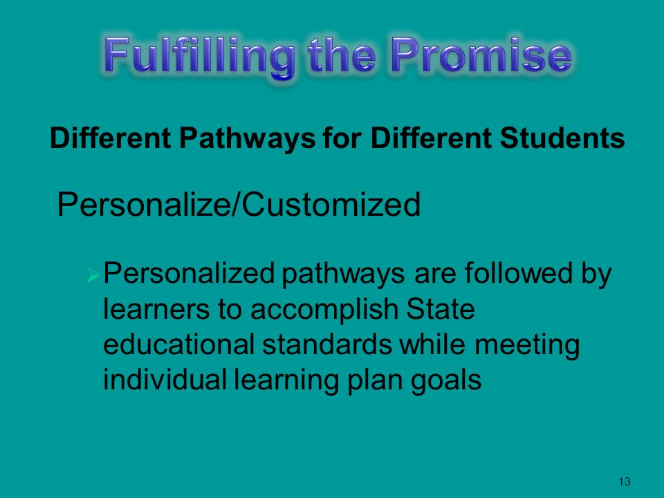 13 Different Pathways for Different Students Personalize/Customized Personalized pathways are followed by learners to accomplish State educational standards while meeting individual learning plan goals