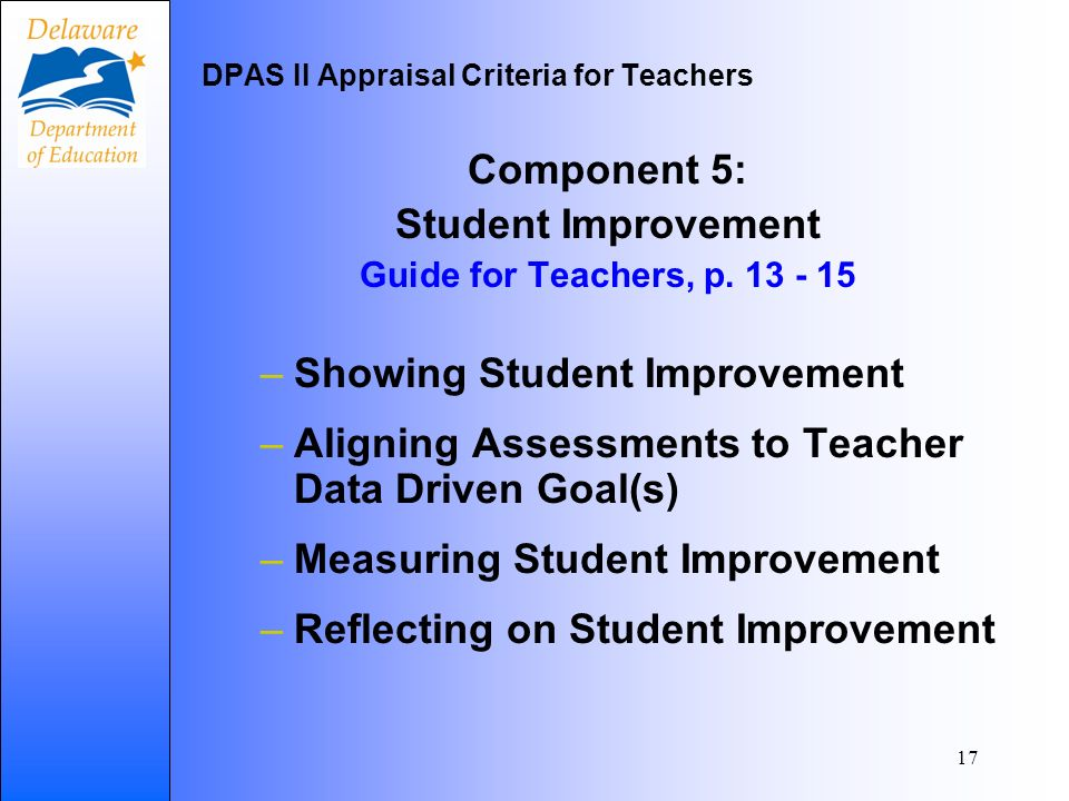17 Component 5: Student Improvement Guide for Teachers, p.