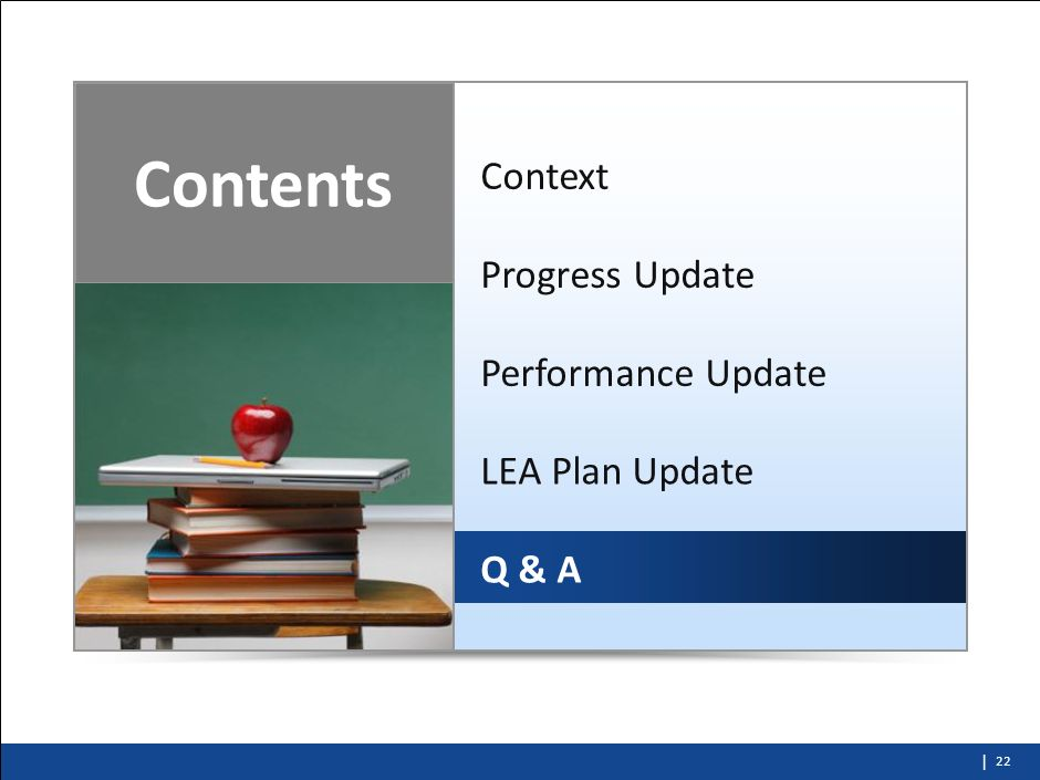 | Implementation Support Overview 21 Accountability Support Progress Reviews to identify LEAs progress against their plan activities (and to help them