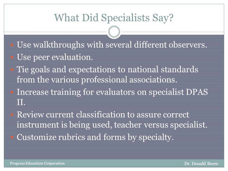 What Did Specialists Say. Dr.