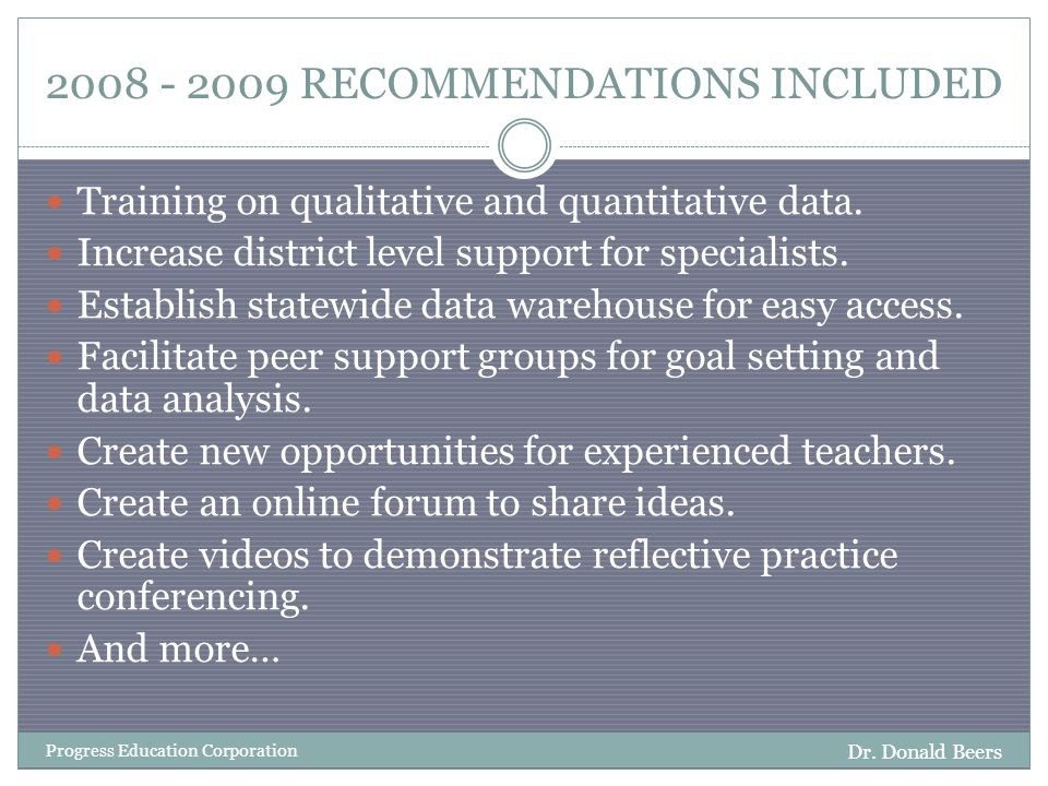 2008 - 2009 RECOMMENDATIONS INCLUDED Dr.