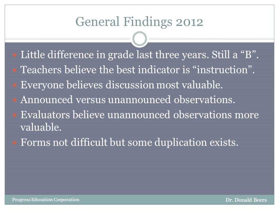 Teachers Grade DPAS II 2012 Dr. Donald Beers Progress Education Corporation