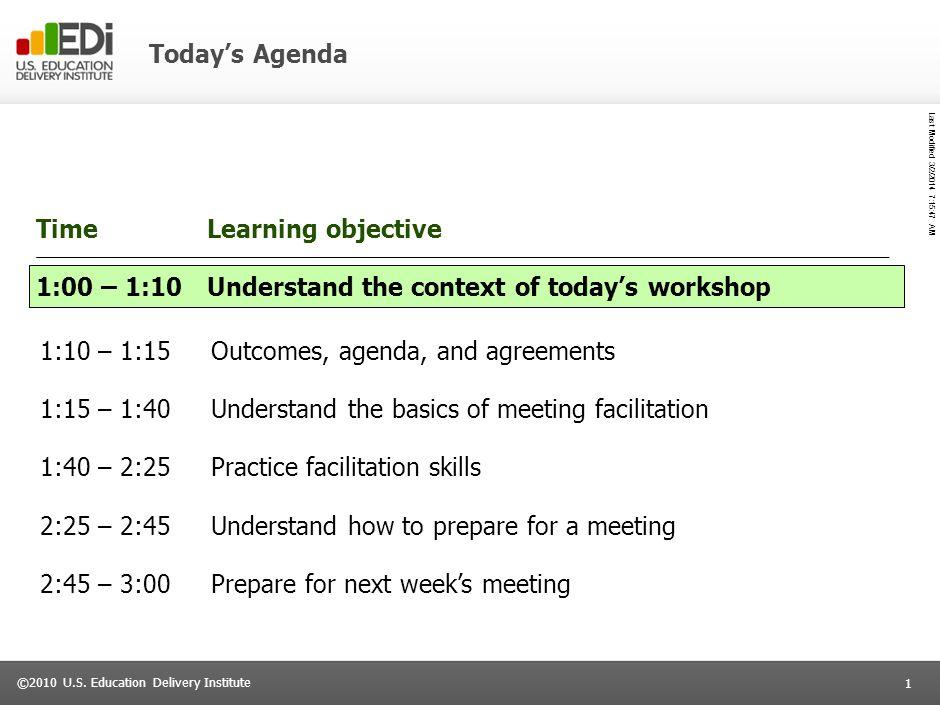 Last Modified 3/2/2014 7:16:14 AM Delaware LEA Liaison Workshop Partnerships with LEAs: a common language for meeting facilitation November 30, 2010