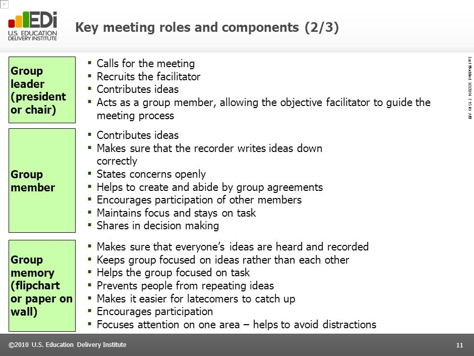 Last Modified 3/2/2014 7:16:14 AM 10 ©2010 U.S. Education Delivery Institute Key meeting roles and components (1/3) 1010 Facilitator I will serve as a