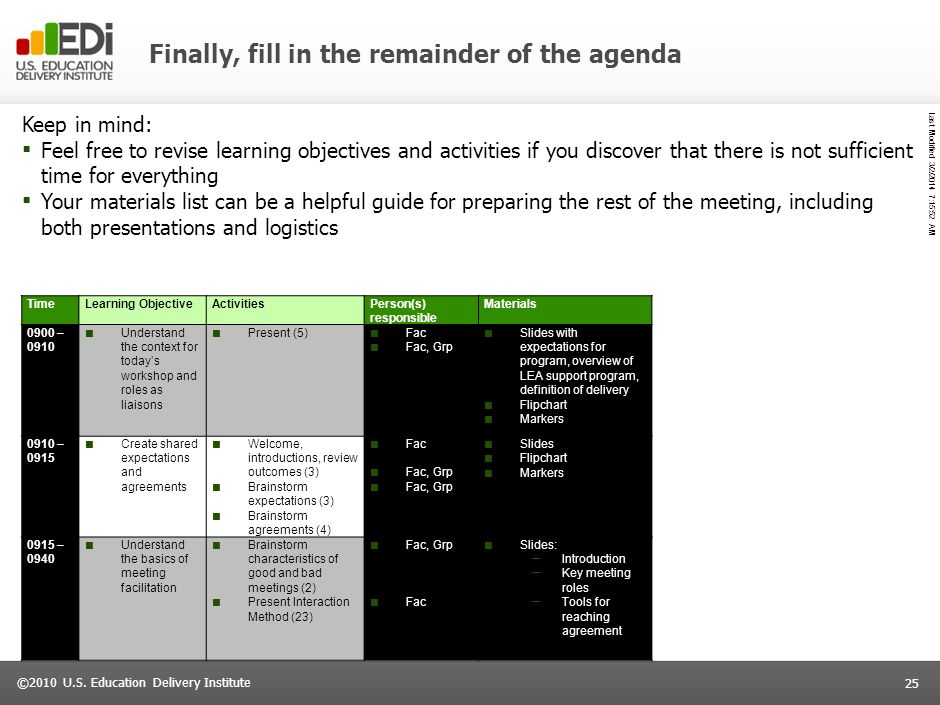 Last Modified 3/2/2014 7:16:14 AM 24 ©2010 U.S. Education Delivery Institute Once you have determined your objectives, you can design the right activi