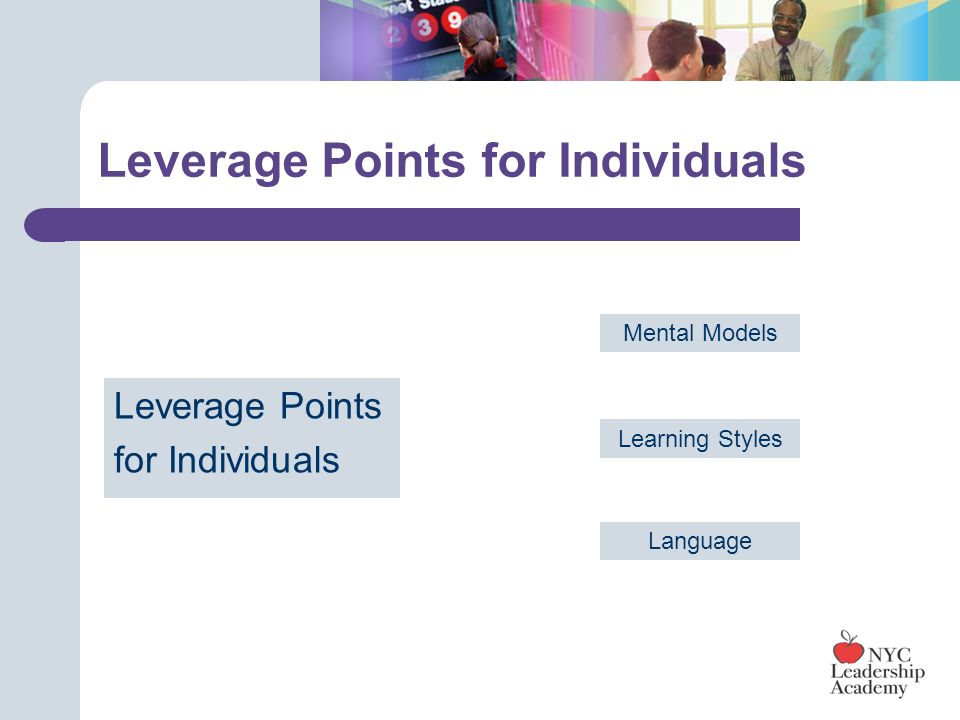Leverage Points for Individuals Leverage Points for Individuals Mental Models Learning Styles Language
