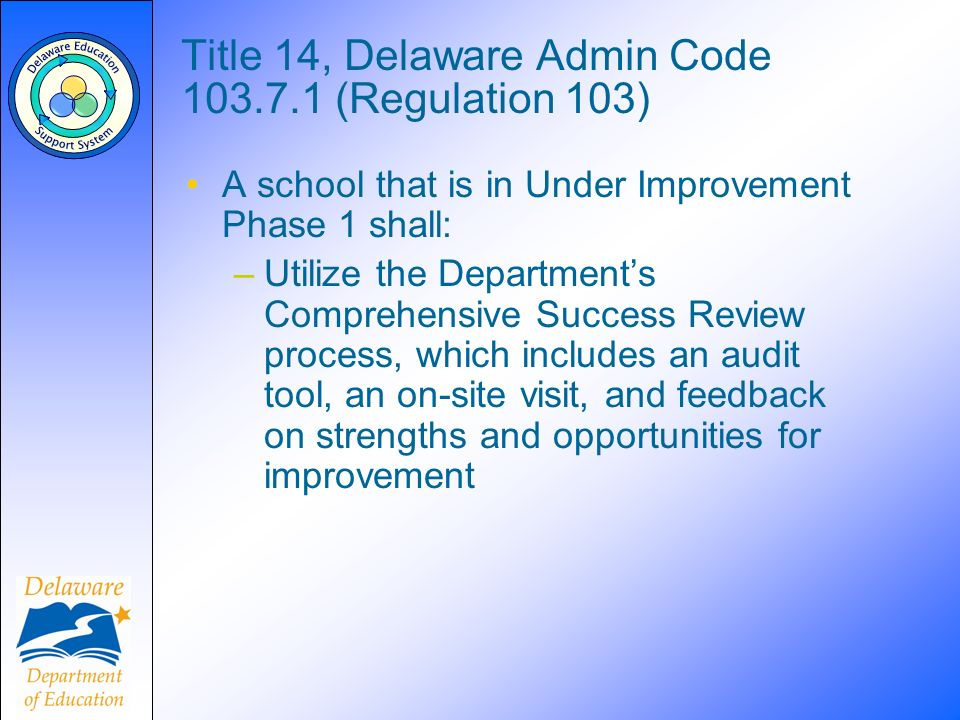 Title 14, Delaware Admin Code 103.7.1 (Regulation 103) A school that is in Under Improvement Phase 1 shall: –Utilize the Departments Comprehensive Success Review process, which includes an audit tool, an on-site visit, and feedback on strengths and opportunities for improvement