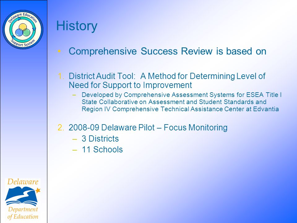History Comprehensive Success Review is based on 1.District Audit Tool: A Method for Determining Level of Need for Support to Improvement –Developed by Comprehensive Assessment Systems for ESEA Title I State Collaborative on Assessment and Student Standards and Region IV Comprehensive Technical Assistance Center at Edvantia 2.2008-09 Delaware Pilot – Focus Monitoring –3 Districts –11 Schools