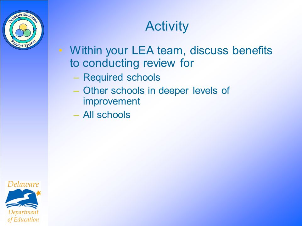 Activity Within your LEA team, discuss benefits to conducting review for –Required schools –Other schools in deeper levels of improvement –All schools