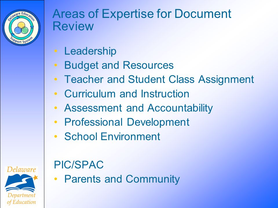 Areas of Expertise for Document Review Leadership Budget and Resources Teacher and Student Class Assignment Curriculum and Instruction Assessment and