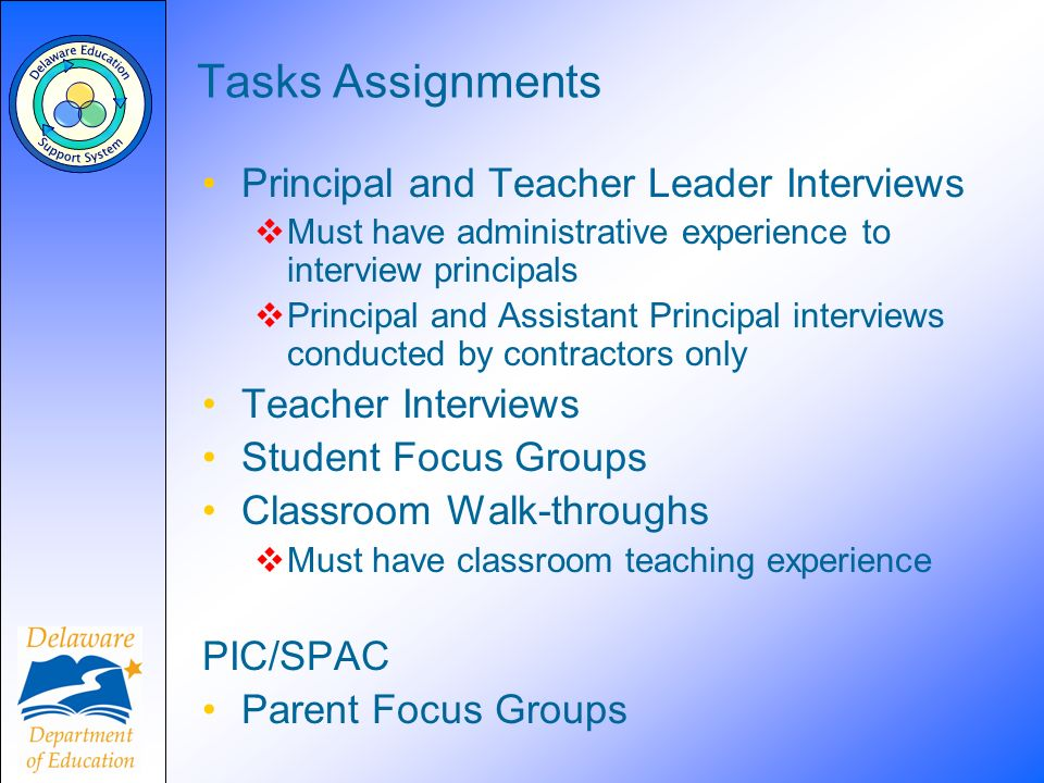 Tasks Assignments Principal and Teacher Leader Interviews Must have administrative experience to interview principals Principal and Assistant Principa