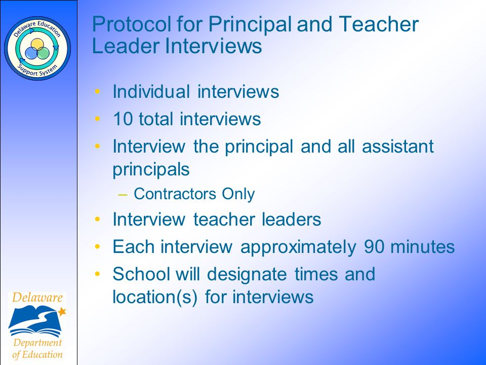 Protocol for Principal and Teacher Leader Interviews Individual interviews 10 total interviews Interview the principal and all assistant principals –C