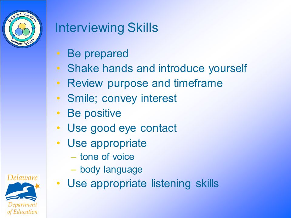 Interviewing Skills Be prepared Shake hands and introduce yourself Review purpose and timeframe Smile; convey interest Be positive Use good eye contac
