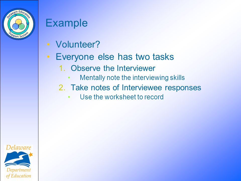 Example Volunteer? Everyone else has two tasks 1.Observe the Interviewer Mentally note the interviewing skills 2.Take notes of Interviewee responses U