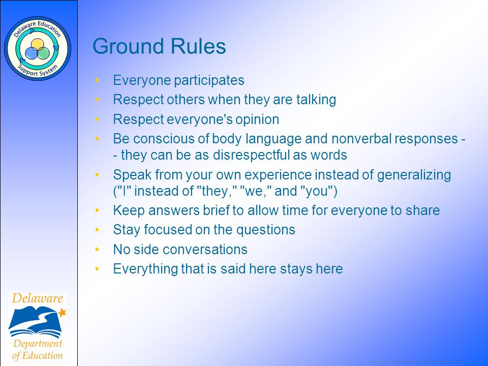 Ground Rules Everyone participates Respect others when they are talking Respect everyone's opinion Be conscious of body language and nonverbal respons