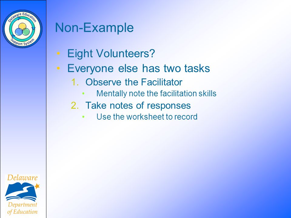 Non-Example Eight Volunteers? Everyone else has two tasks 1.Observe the Facilitator Mentally note the facilitation skills 2.Take notes of responses Us
