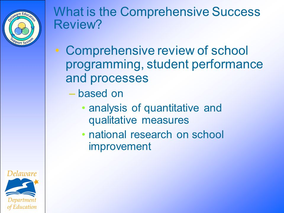 What is the Comprehensive Success Review? Comprehensive review of school programming, student performance and processes –based on analysis of quantita
