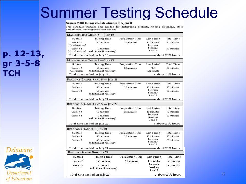 25 Summer Testing Schedule p. 12-13, gr 3-5-8 TCH