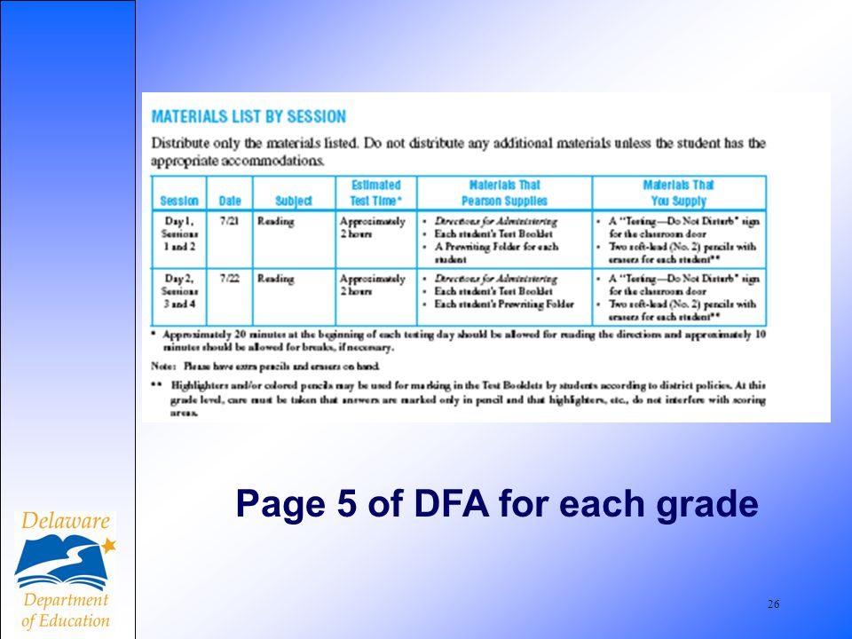 26 Page 5 of DFA for each grade