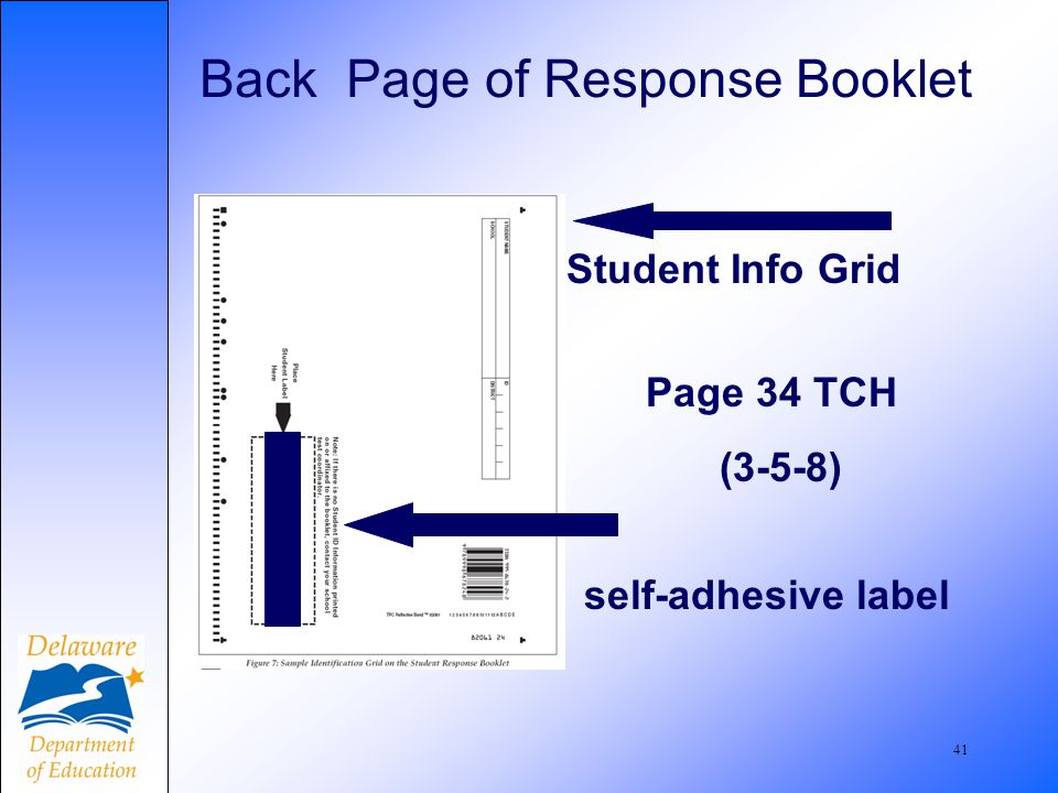 41 Back Page of Response Booklet Page 34 TCH (3-5-8) self-adhesive label Student Info Grid