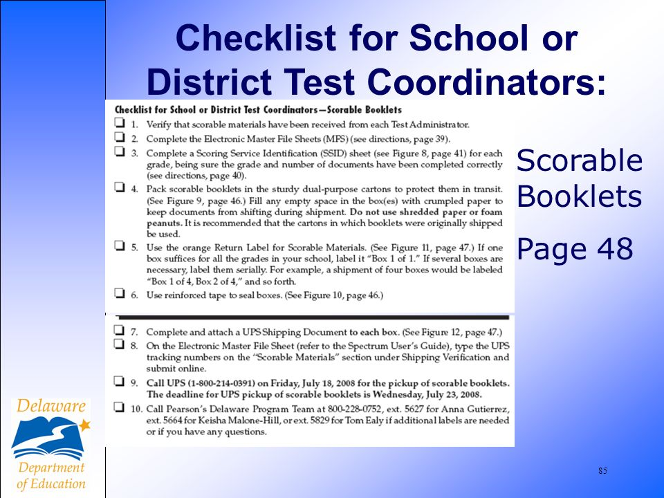 85 Checklist for School or District Test Coordinators: Scorable Booklets Page 48