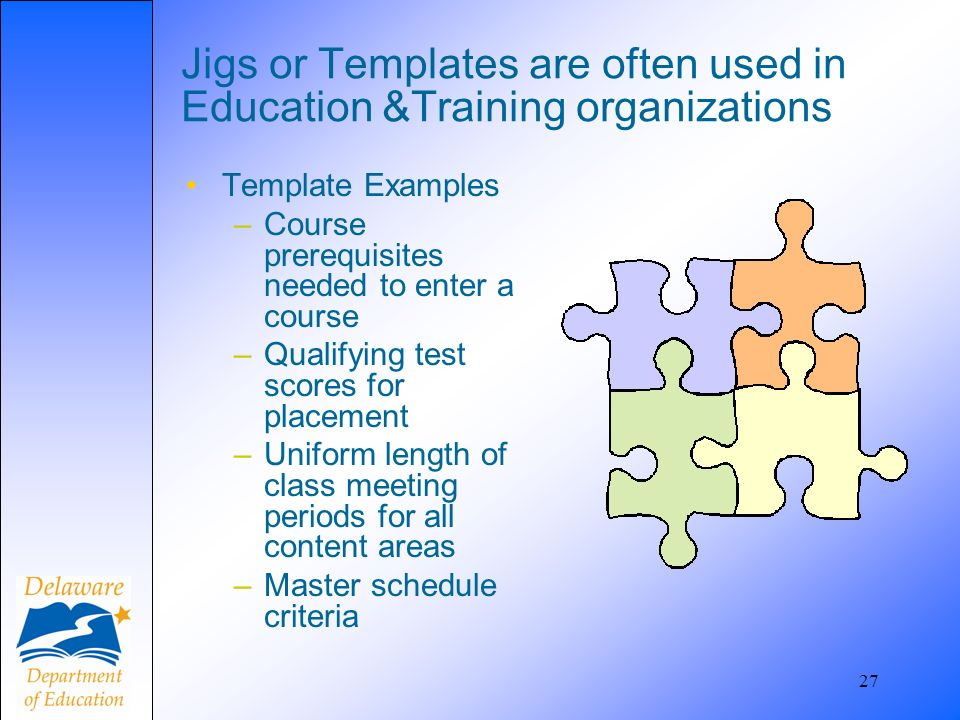 27 Jigs or Templates are often used in Education &Training organizations Template Examples –Course prerequisites needed to enter a course –Qualifying test scores for placement –Uniform length of class meeting periods for all content areas –Master schedule criteria