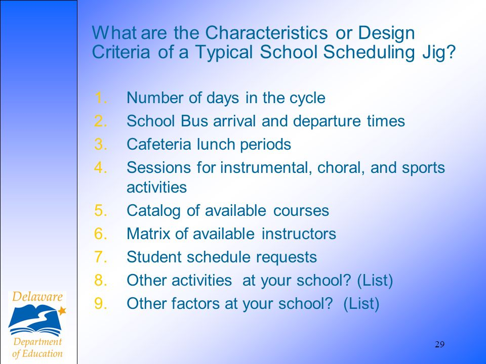 29 What are the Characteristics or Design Criteria of a Typical School Scheduling Jig.