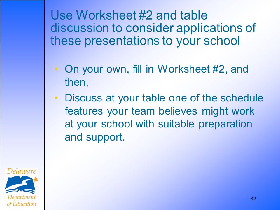 32 Use Worksheet #2 and table discussion to consider applications of these presentations to your school On your own, fill in Worksheet #2, and then, Discuss at your table one of the schedule features your team believes might work at your school with suitable preparation and support.