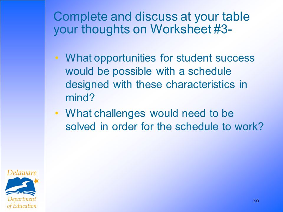 36 Complete and discuss at your table your thoughts on Worksheet #3- What opportunities for student success would be possible with a schedule designed with these characteristics in mind.