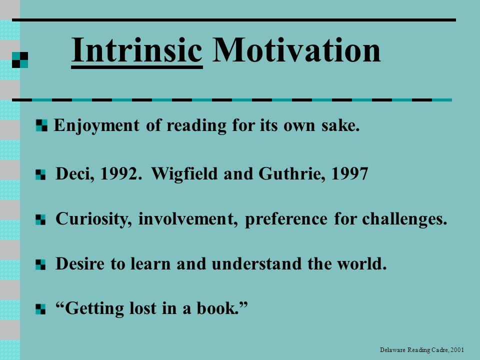 Intrinsic Motivation Enjoyment of reading for its own sake.