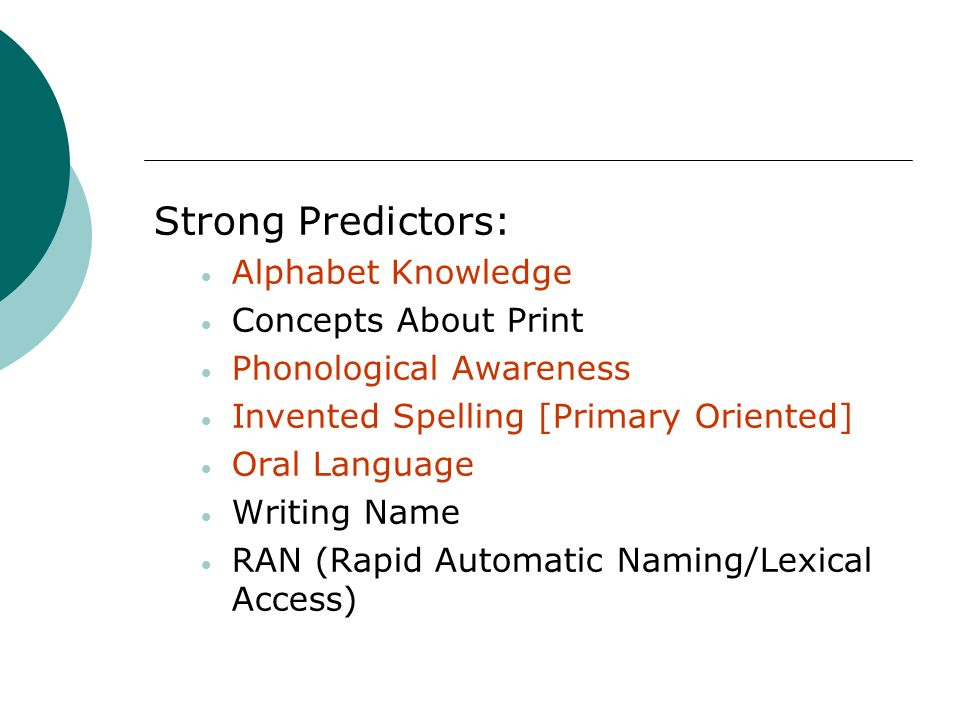 Strong Predictors: Alphabet Knowledge Concepts About Print Phonological Awareness Invented Spelling [Primary Oriented] Oral Language Writing Name RAN
