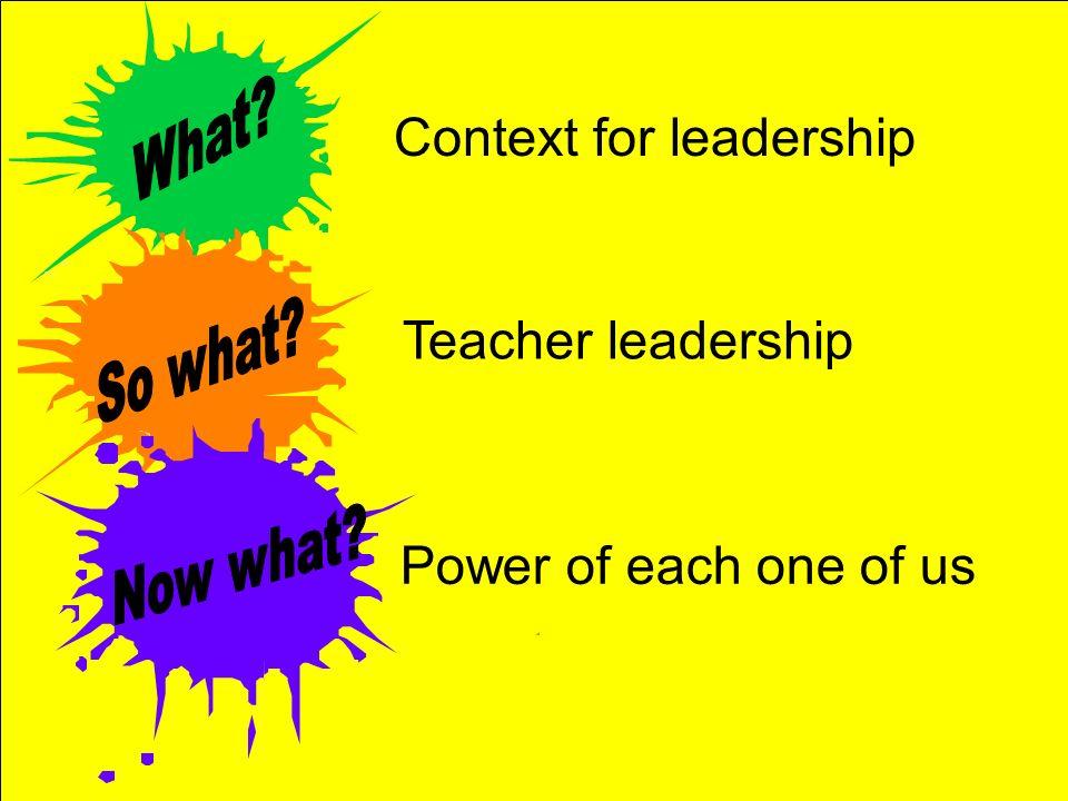Context for leadership Teacher leadership Power of each one of us