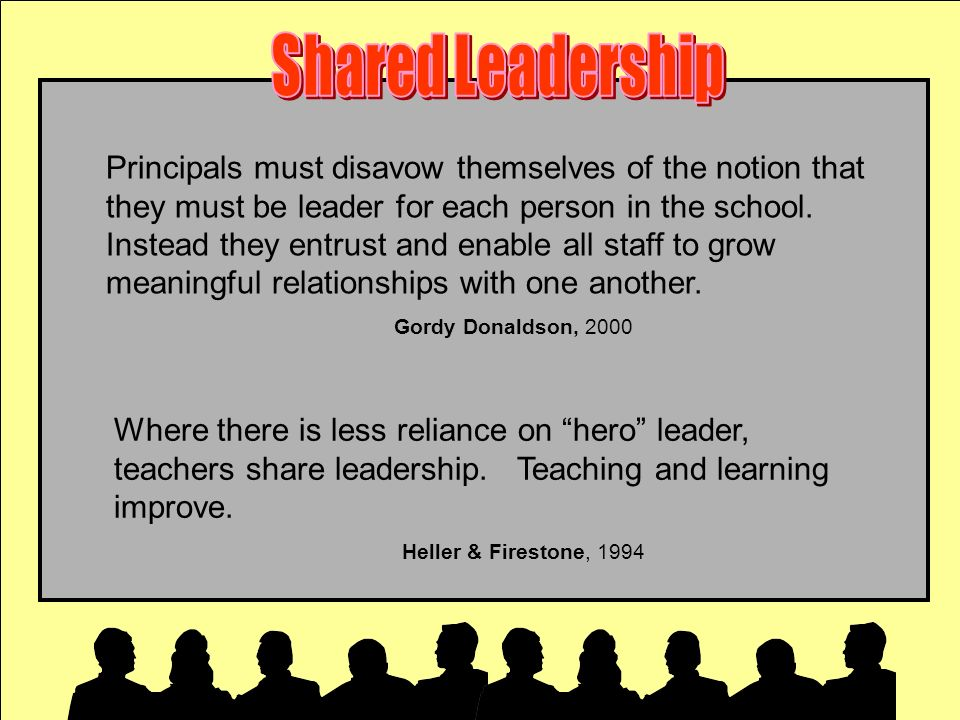 Where there is less reliance on hero leader, teachers share leadership. Teaching and learning improve. Heller & Firestone, 1994 Principals must disavo