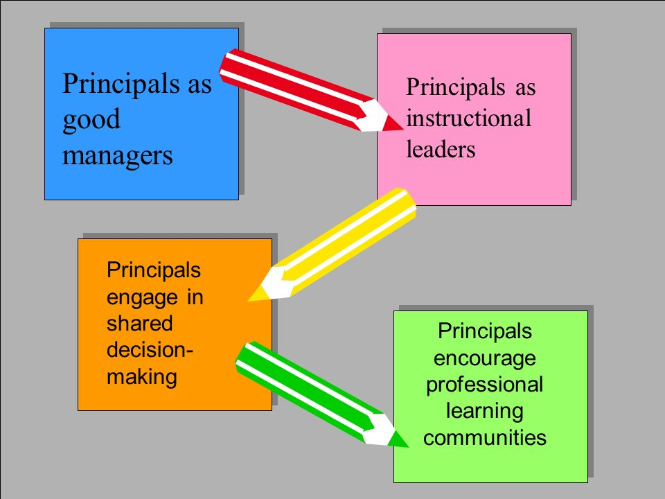 Principals as good managers Principals as instructional leaders Principals engage in shared decision- making Principals encourage professional learnin