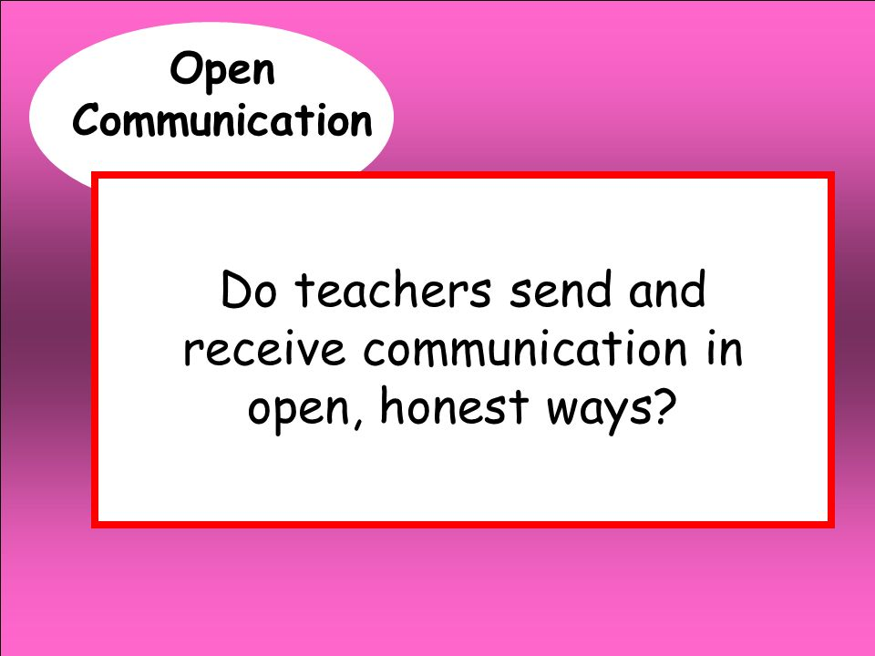 Open Communication Do teachers send and receive communication in open, honest ways?