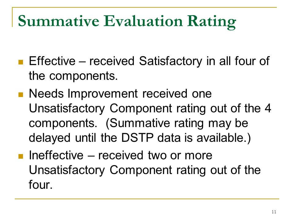 11 Summative Evaluation Rating Effective – received Satisfactory in all four of the components. Needs Improvement received one Unsatisfactory Componen