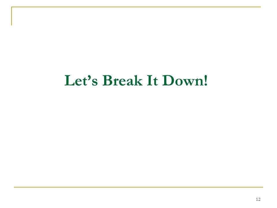 12 Lets Break It Down!