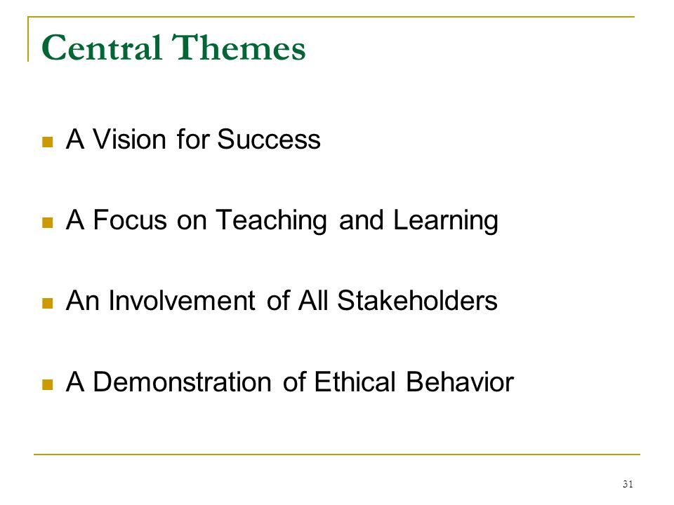 31 Central Themes A Vision for Success A Focus on Teaching and Learning An Involvement of All Stakeholders A Demonstration of Ethical Behavior