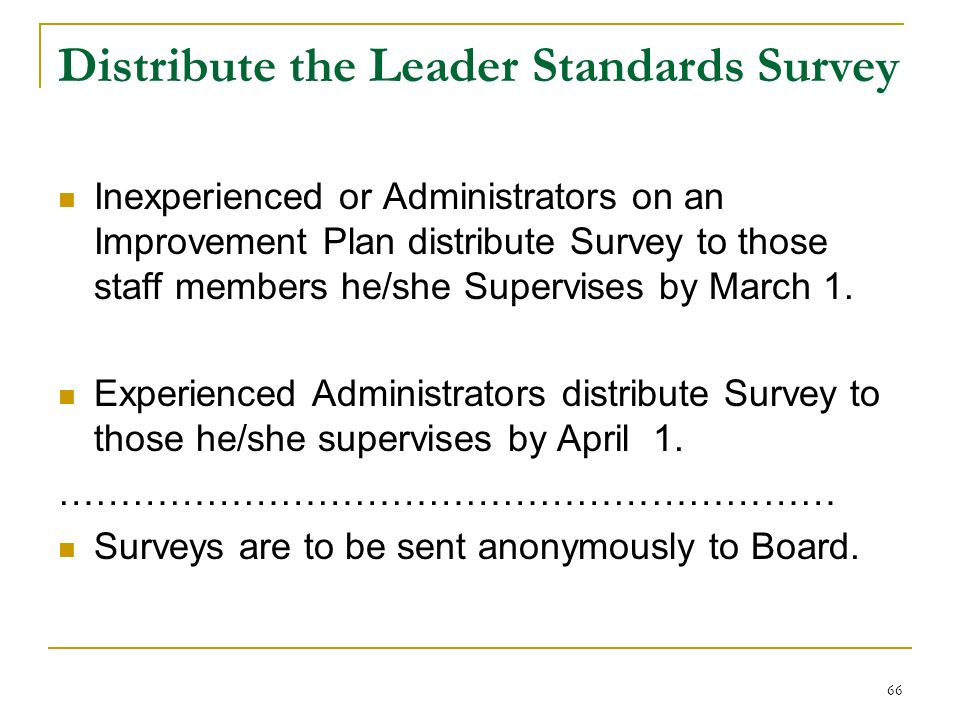 66 Distribute the Leader Standards Survey Inexperienced or Administrators on an Improvement Plan distribute Survey to those staff members he/she Super
