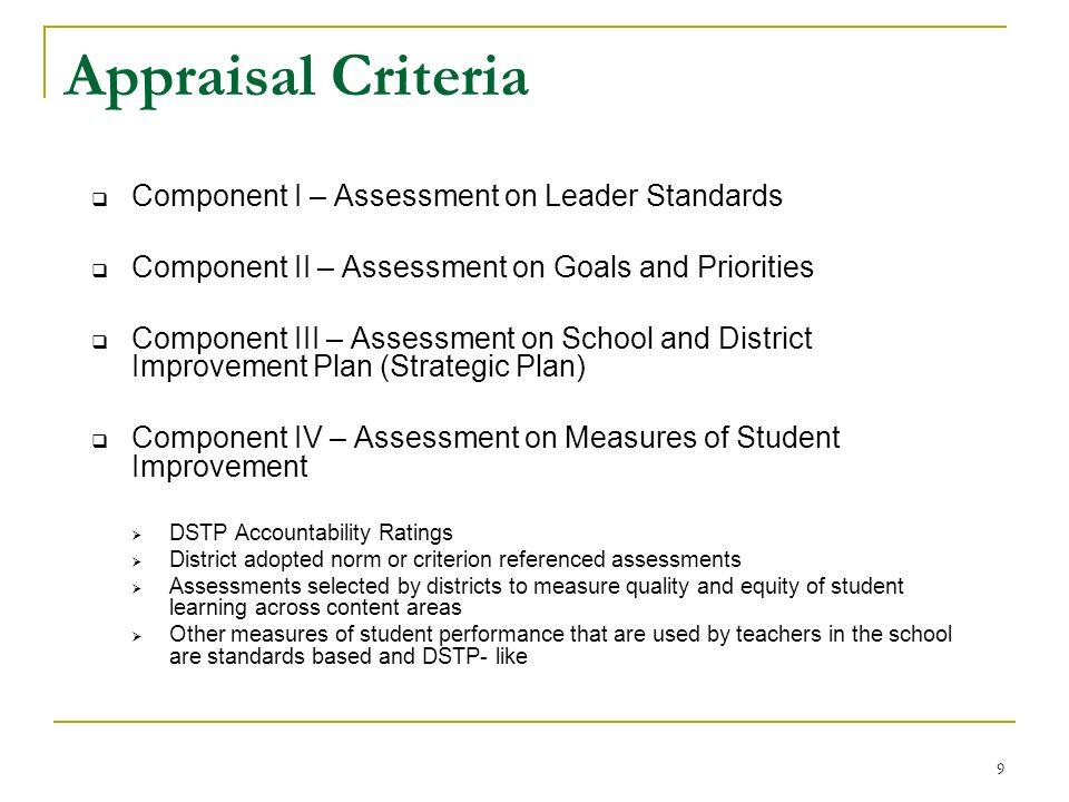 9 Appraisal Criteria Component I – Assessment on Leader Standards Component II – Assessment on Goals and Priorities Component III – Assessment on Scho