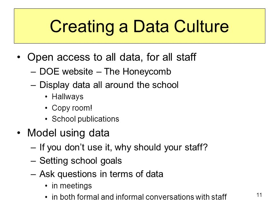 11 Creating a Data Culture Open access to all data, for all staff –DOE website – The Honeycomb –Display data all around the school Hallways Copy room.