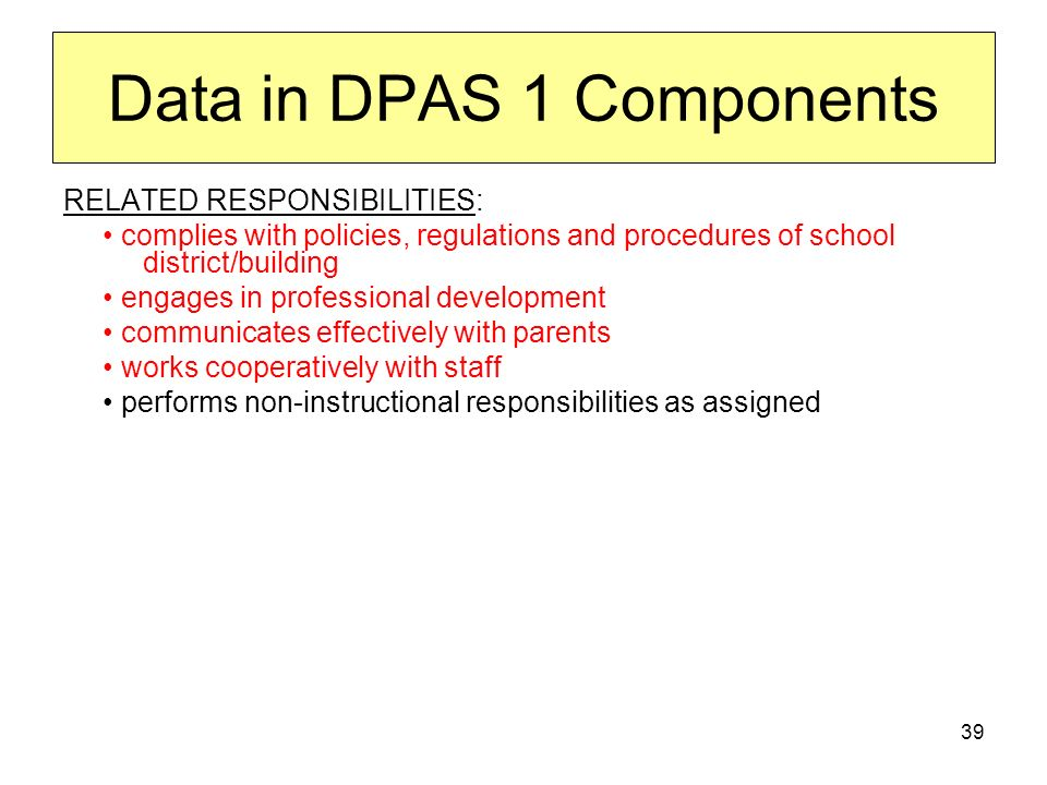 39 Data in DPAS 1 Components RELATED RESPONSIBILITIES: complies with policies, regulations and procedures of school district/building engages in profe