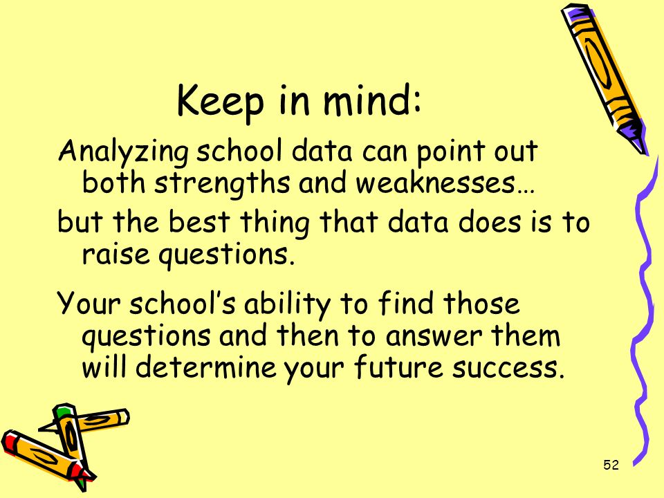 52 Keep in mind: Analyzing school data can point out both strengths and weaknesses… but the best thing that data does is to raise questions.